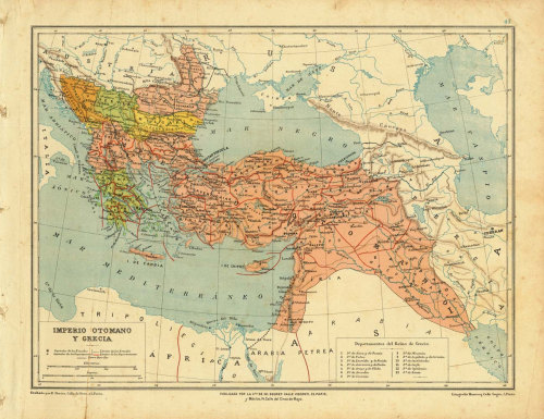 Ottoman Empire and Greece Historical Map 1899 at CarambasVintage http://etsy.me/Wx6Tr8