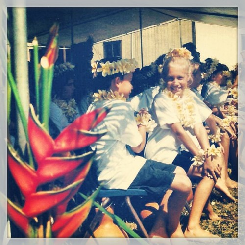 #mayday is lei day in Hawaii, garlands of flowers everywhere #haole #sorethumb #1997 (at Hanalei Elementary School)