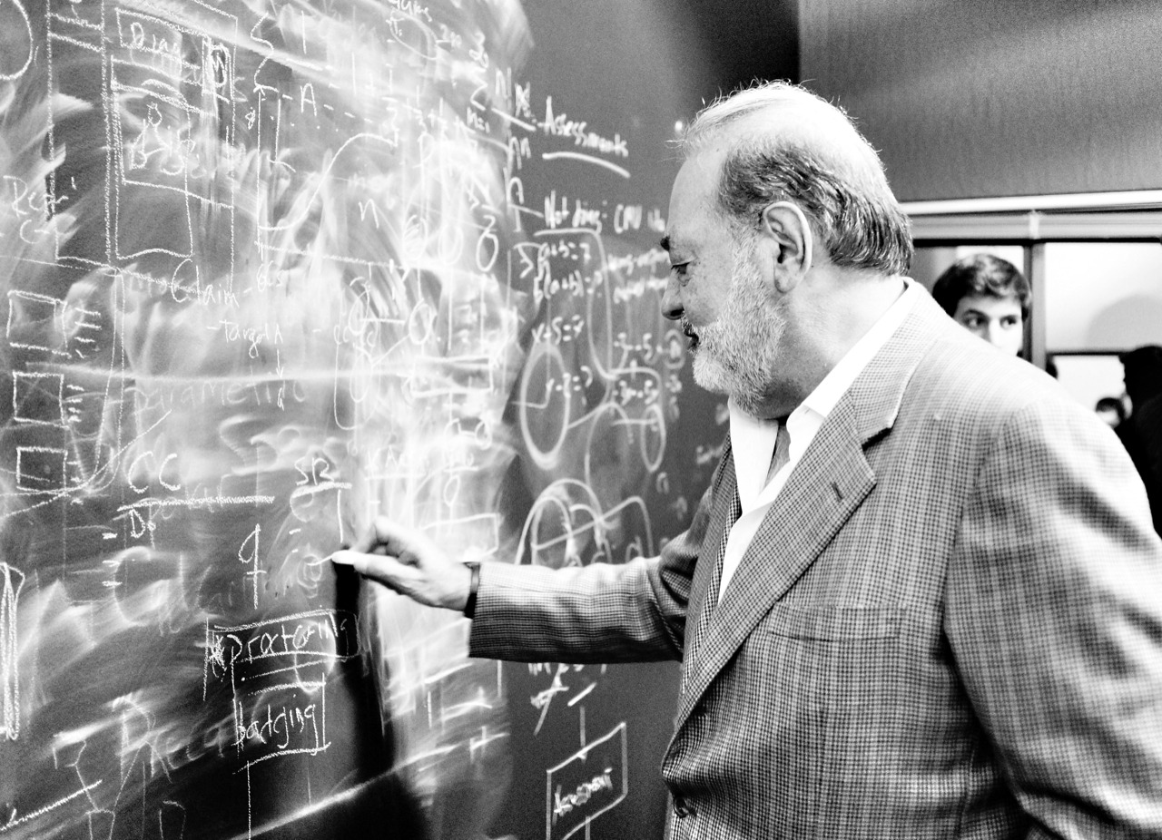Carlos Slim on his visit to Khan Academy working out a mathematical proof.
