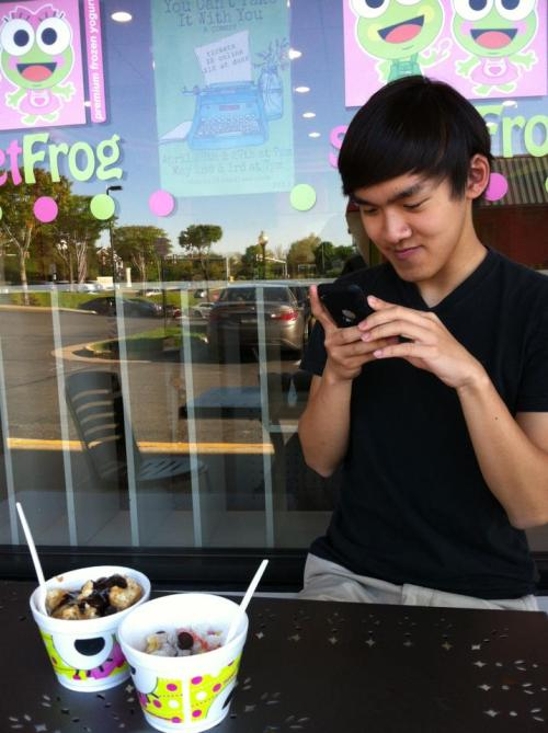 Thomas taking pictures at Sweet Frog. Alright…