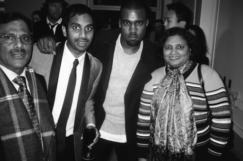 Photo Op of the Day: The Ansaris & Kanye West  We're still trying to track down the story behind this precious moment, but this casual photo of Kanye West posing with comedian Aziz Ansari and his parents is definitely one of the finer things we've seen today. Hat tip goes to Uproxx!