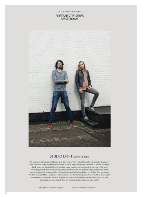 A few weeks back i had the pleasure to meet and portrait Lonneke and Ralf from Studio Drift for Ala Champfest Magazine