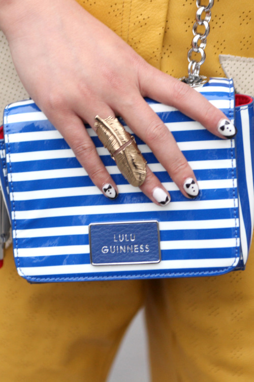 Check out the tux nail art! #PFW #StreetStyle @LuluGuinness WGSN Street Shot, Paris Fashion Week