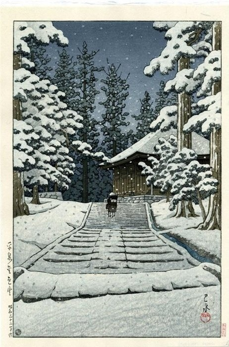 "The Sketchbooks of KAWASE Hasui -  ""Konjikido in Snow, Hiraizumi"" (via wasbella102:"