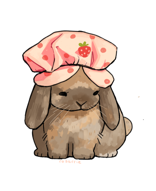 thefingerfuckingfemalefury:  rosarrie:bunny wearing a strawberry hat They are a well dressed bun <3