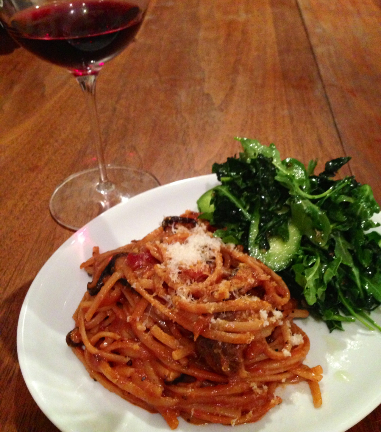 Wild venison ragout with linguine and a kale and arugula salad.