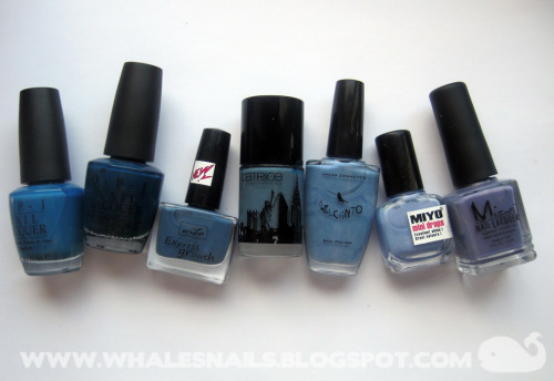 My denim blue polishes <3 http://www.whalesnails.blogspot.com/2013/03/denim-blue.html
