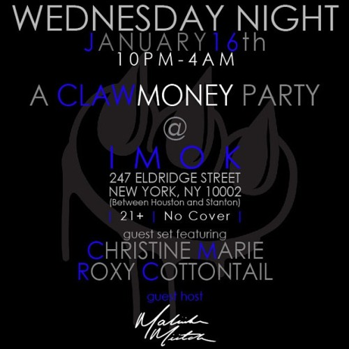 TONIGHT! a claw$ party @imokbar! 247 eldridge 10-4am. sets by @roxycottontail&yours truly 😉 hosted by @maliibumiitch