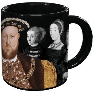 We're sipping from this Henry VIII mug.  Pour in a hot beverage and his wives completely disappear from their picture — no beheading necessary.