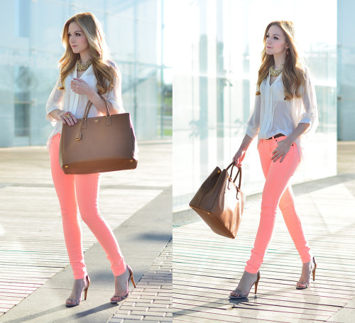 lookbookdotnu:  Bright Coral (by Henar Vicente)