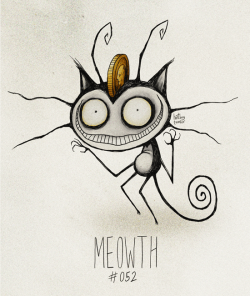 hatboy:  Meowth #052 Part of The Tim Burton x PKMN Project By Vaughn Pinpin Meowth, that's right!