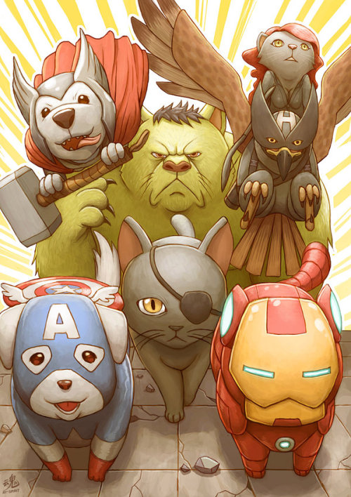 veensy17:   Nick Furry and the Animalvengers by *Ry-Spirit  Marvel and Cats, Sounds perfect to me.