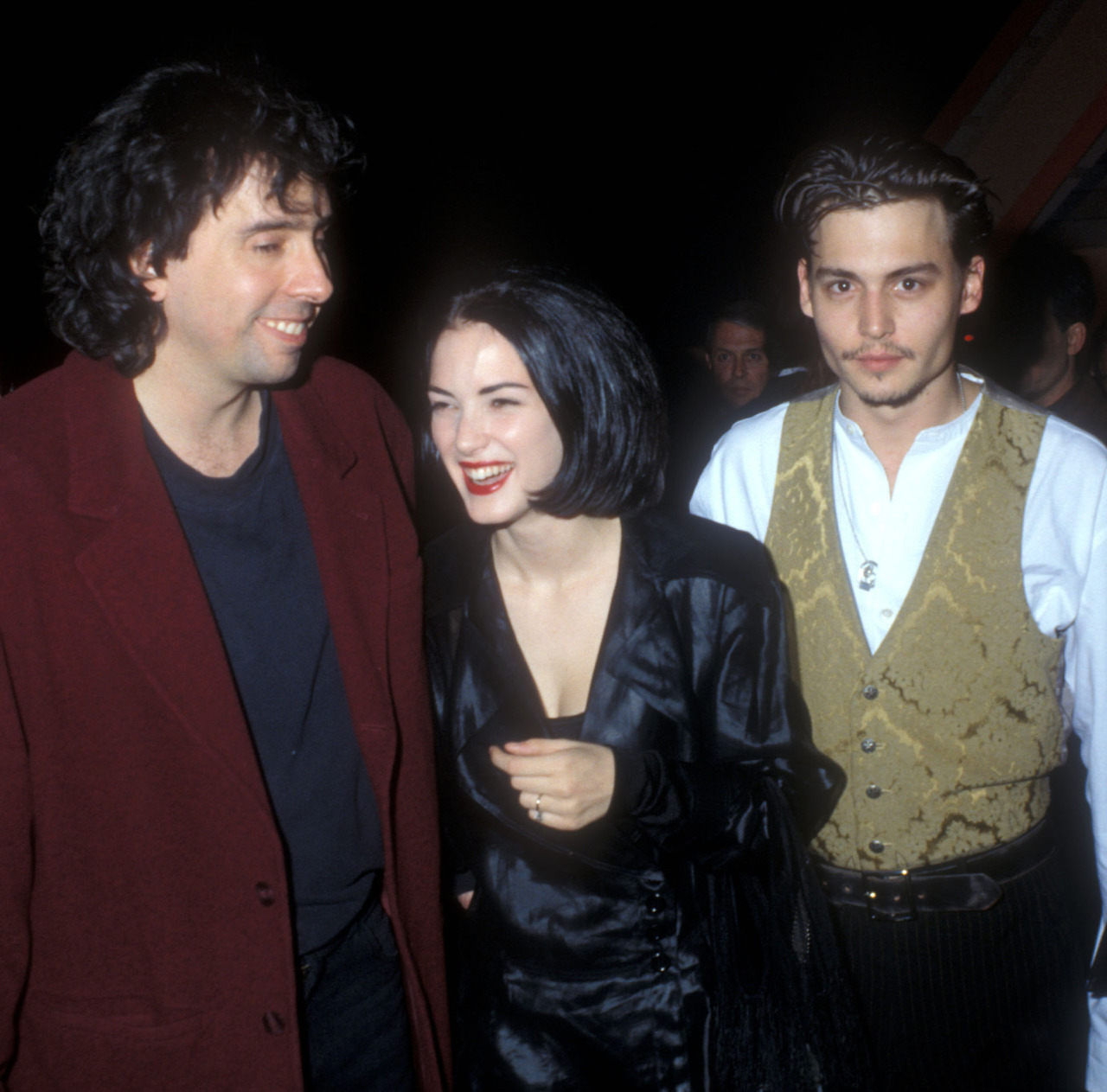 Tim Burton, Winona Ryder and Johnny Depp at the Edward Scissorhands premiere,  December 6, 1990