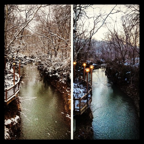 scotthuckphoto:  What a difference 12 hrs can make. @stoneycreek #creek #cedarville #spring #snow  Great work