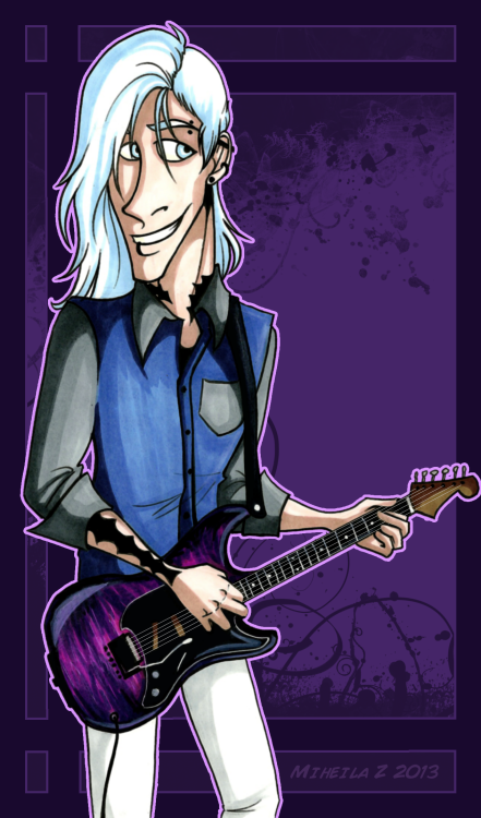 knightofpinstripes:  Jasper for for that loser again uvu guitars???? i don't know man   LOOK AT THIS CUTIE. Omfg… the guitar is soooo shiny…. ahhhh. But yeah, you totally got his theatrical, performance side down. like OMFG… I LOVE IT. and he's so sassy looking and attractive and I really want to pet his hair…. and he's wearing the dorky shirt… and and and…. I JUST LOVE THIS. <33333333333333333333 -lies down-