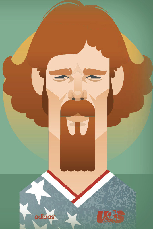"Alexi Lalas in the stars and stripes, part of Stanley Chow's extensive illustrated feature on ""North American Pioneers"" in Issue Two of XI Quarterly, Americans Abroad."