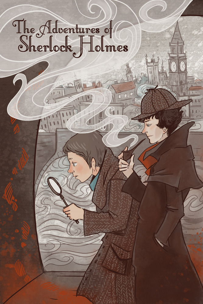 thegorgonist:  Holmes and Watson in the London Fog AKA the case of the missing mustache. If you love the world's first (and only?) consulting detective and his loyal (and only?) friend, perhaps this book-cover styled poster will tickle your fancy.  There shoudl probably be more mustaches in this piece, but I'm going for a more modern 'Sherlock' look for the characters, while maintaining a bit of Victorian England in the mysterious background.  If people would like a version with mustachio'd Watson, let me know and I will make one! You can get a print here: https://www.etsy.com/listing/121821334/sherlock-holmes-literary-poster12x18 Love, The Gorgonist
