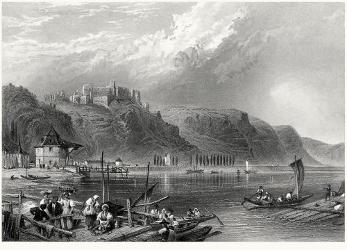 Rheinfels Castle - St. Goar.  Myles Birket Foster, from The Rhine and its picturesque scenery, by Henry Mayhew, London, 1856.  (Source: archive.org)
