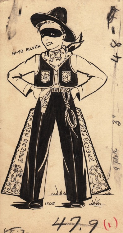 Vintage drawing of a child's Lone Ranger costume