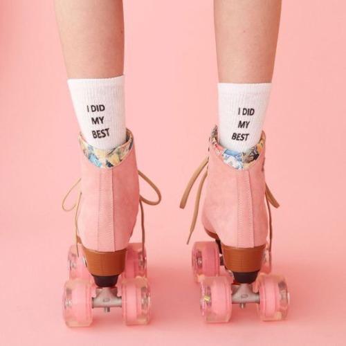 aesthetic peach aesthetic rollerskates