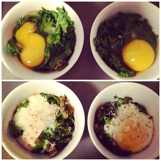 Baked eggs & kale, before and after. #themagicoframekins