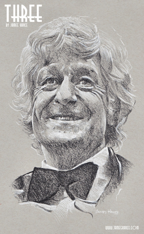 jameshance:  Latest Doodle  - 'Three' (Doctor Who - Charcoal) Presenting your Third Doctor - The Mighty Jon Pertwee! The third of 11 portraits - 1 a day for the next 9 days. Prints and originals available once the set is complete.  Thanks for your kind words and support, as ever :) x My site / My Facebook / Original Art on eBay   r