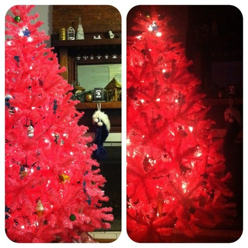 Lights on! Lights off! #christmas #pink #christmastree