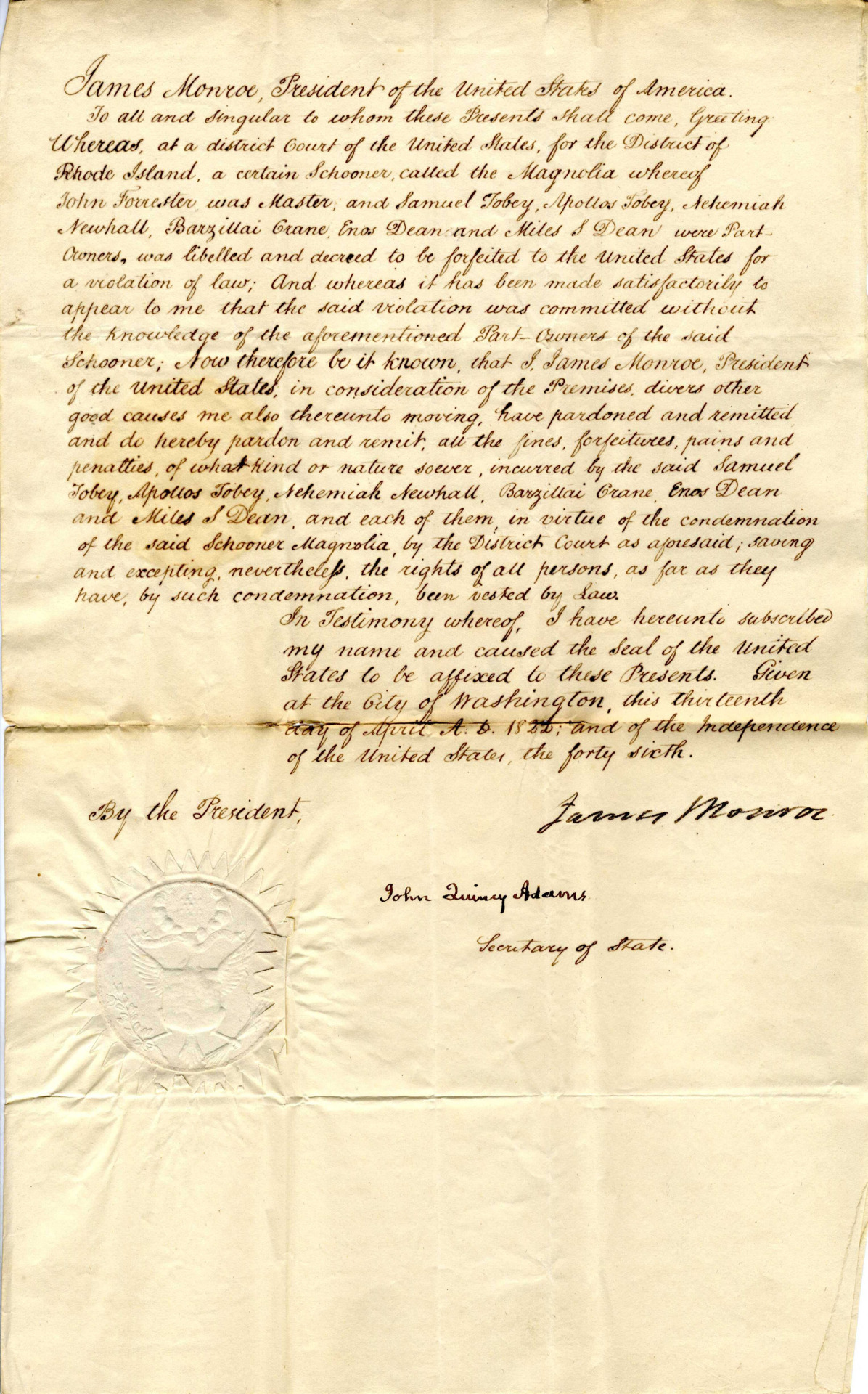 Presidential Pardon Signed by James Monroe and John Quincy Adams, 04/13/1822. Item From: Records of District Courts of the United States. (1790- 01/01/1912). Power of the Pen. One of the powers the president holds is the ability to pardon prisoners. In this case President Monroe pardoned three individuals. Source: http://go.usa.gov/DyCH