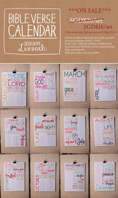 ***ON SALE*** Am clearing stock for the Bible Verse Calendars! (They're perpetual calendars, so you can use them any time, any year, all year round) Sale prices valid till this coming Sunday (19 May) only. Available here: http://lizzaeh.bigcartel.com/product/bible-verse-calendar