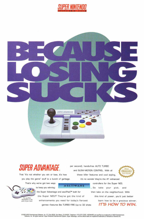 it8bit:  Because Losing Sucks SNES Super Advantage Controller Ad Scan by Paxton Holley