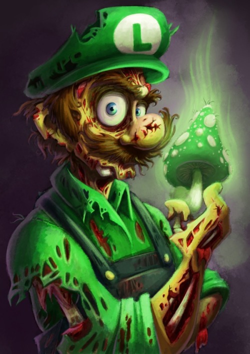 mara-moonbeam:  Zombie Luigi !(: