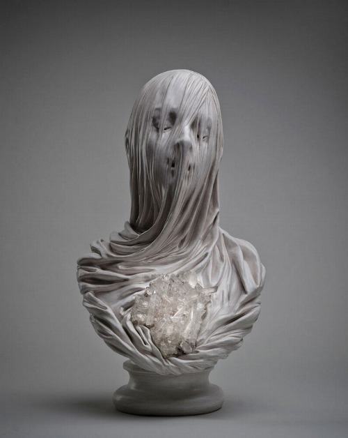 Veiled Souls Carved from Stone and Embedded with Crystals by Livio Scarpella