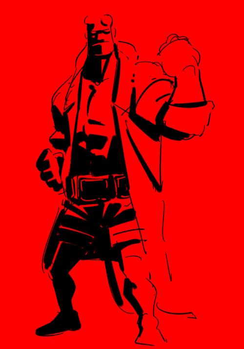 HELLBOY/ヘルボーイのラクガキ #hellboy#ヘルボーイ#fanart #dark horse comics #illustlation #guillermo del toro #イラスト#アメコミ