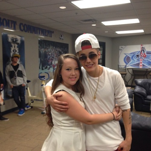 Justin with a fan backstage before his show in Denver.