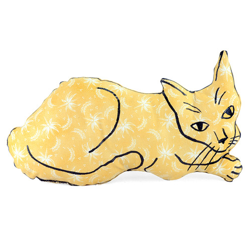 My newest, sunny bright yellow kitty pillow.