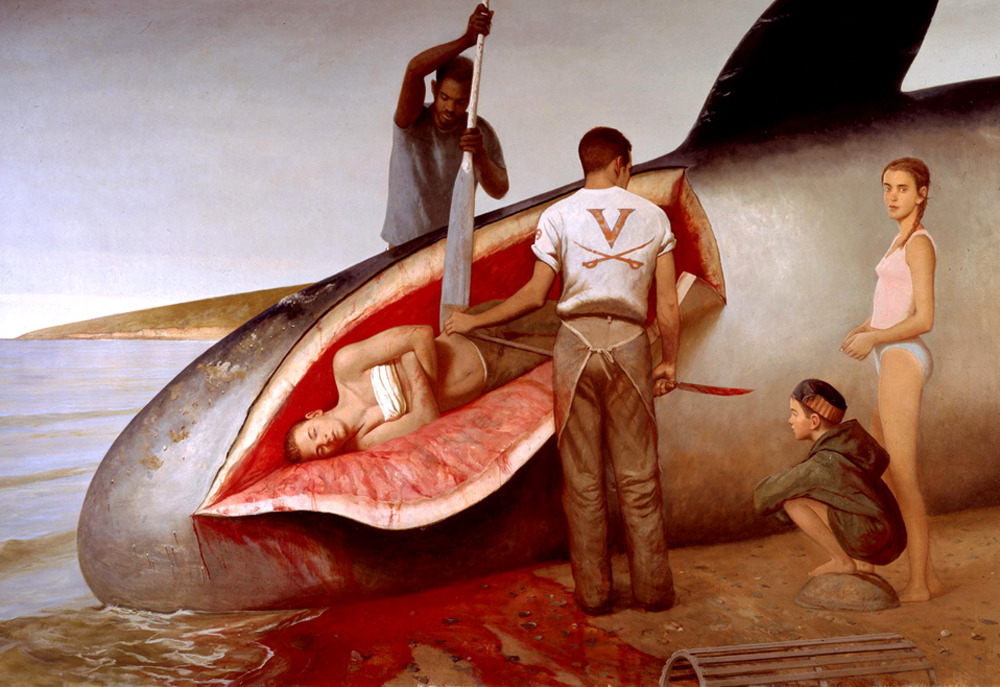 likeafieldmouse:  Bo Bartlett - Leviathan (2000) The Biblical tale of Jonah in the belly of the whale, reimagined in contemporary times.