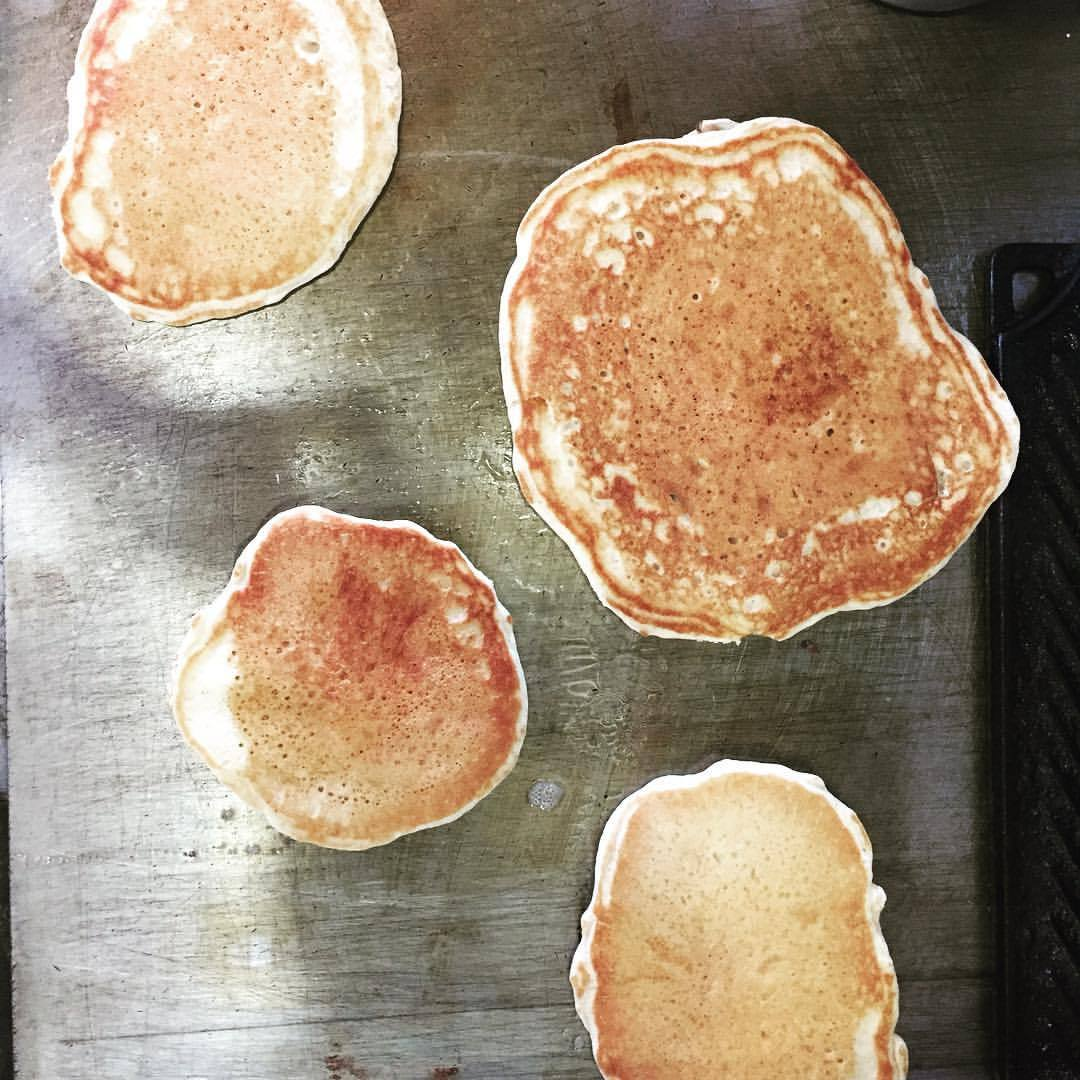 Extra bread leaven equals sourdough pancakes for the crew.