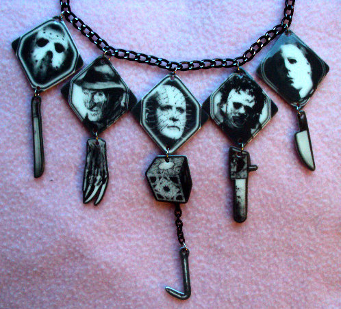 batwife:  Horror Movie Killers Necklace by MirroredOpposites on etsy