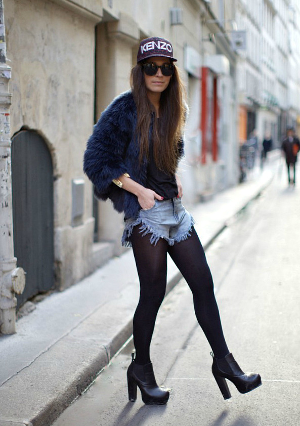 what-do-i-wear:  Zara Mohair Jacket, H&M Black Tee, Missguided Frayed Shorts, Kenzo Hat & Missguided Heeled Boots (image: befrassy)