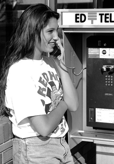 Girl on EdTel payphone, Edmonton, Alberta, 1992