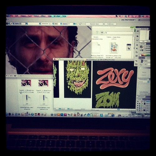 Catching up with #thewalkingdead while finishing up a #zombie #artwork, #illustrator #illustration #vector #digitalart #zombies  #zombieillustration