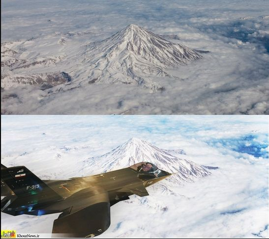 Iran's Fake Super-Stealth Jet Takes to the Fake Skies, Now with Nice Photoshop  The only technological miracle in this alleged flight of the Qahar 313 fighter over Mount Damavand is that someone at the Iranian defense ministry appears to have upgraded to Photoshop CS6 since the last copy-and-paste job went viral. See more. [Images: PickyWallpapers.com/Khouz News]