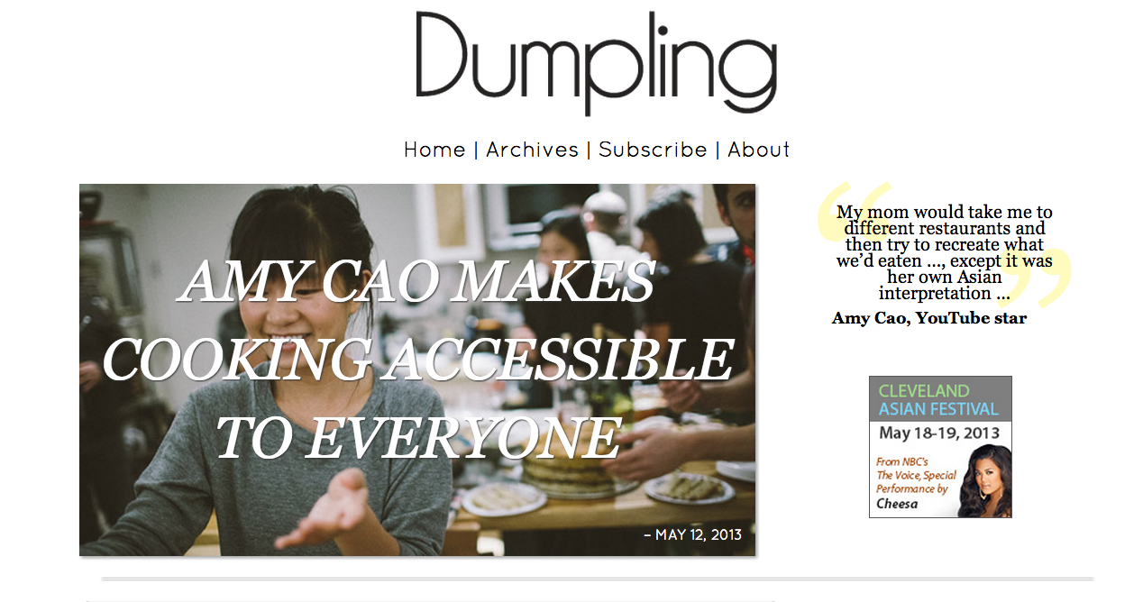 "interview on asian american blog ""dumpling magazine"" I love the headline for this interview I did with Dumpling Magazine. Here's hoping it comes true. In other news, I'm wearing the same grey sweatshirt today. photo by eddy vallante"