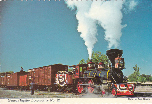 """Genoa/Jupiter Locomotive No. 12"" postcard by El Cobrador on Flickr."