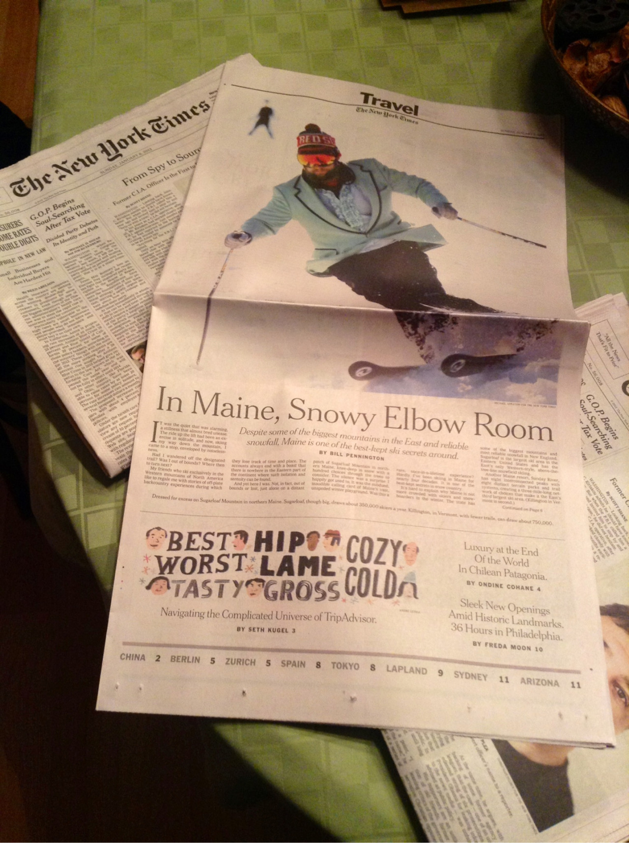 Somehow it seems fitting that the Sugarloaf skier who made 3/4 of a page in the Sunday Times would be wearing a turquoise tuxedo.