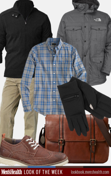 What's YOUR winter commute style? Pullover: Banana RepublicDress shirt: J. CrewParka: The North FaceChino: Polo Ralph LaurenBrogue: Hush PuppiesGloves: EchoMessenger: Fossil