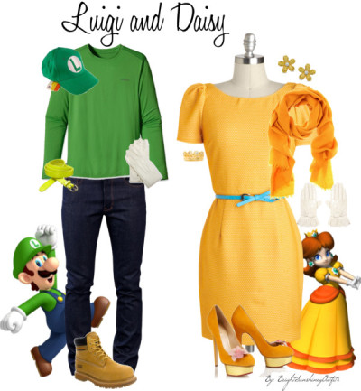 Luigi and Daisy by brightsunshineyoutfits featuring a cashmere shawl