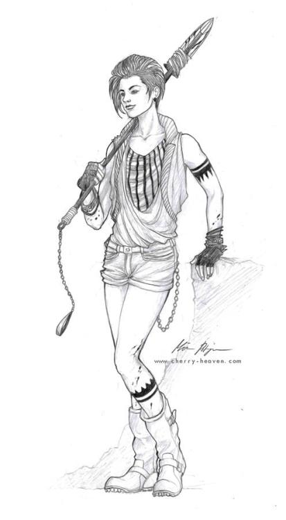 Joyce, a zombie hunter. I drew this just to spend some time, too busy to paint atm. I love androgynous men! ♥