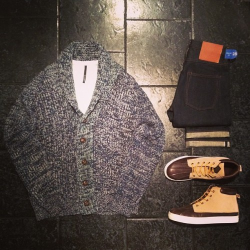 "BleeckerSt.com Men's Outfit of the Day ""Starsky""  Shawl Collar Cardi: http://www.bleeckerst.com/collections/mens-sweaters-and-knitwear Straight leg selvage denim: http://www.bleeckerst.com/collections/mens-jeans-and-pants Duckie Boot Brown: http://www.bleeckerst.com/collections/kicks"