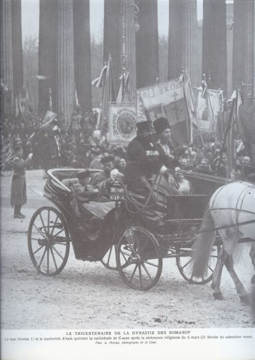 Nicholas II and Tsarevich Alexei leaving Our Lady of Kazan Cathedral on 6 March, 1913.